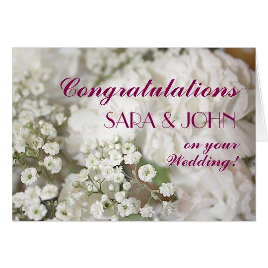 Baby's Breath Personalised Wedding Congratulations Card