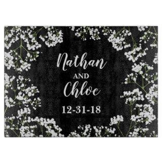Babys Breath Personalized Wedding Date on Black Cutting Board