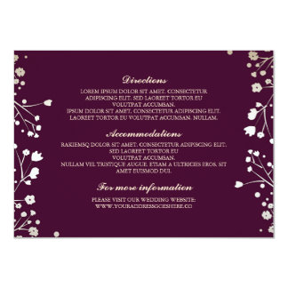 Baby's Breath Plum Wedding Details - Information 11 Cm X 16 Cm Invitation Card