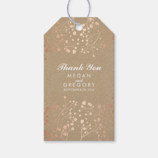 Baby's Breath Rose Gold and Brown Wedding Gift Tags