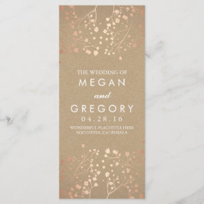 Baby's Breath Rose Gold and Kraft Wedding Programs Programme