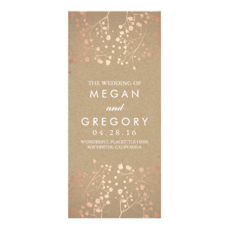 Baby's Breath Rose Gold and Kraft Wedding Programs Rack Card