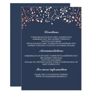 Baby's Breath Rose Gold and Navy Wedding Details Card
