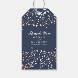 Baby's Breath Rose Gold and Navy Wedding Gift Tags