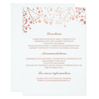 Baby's Breath Rose Gold and White Wedding Details Card