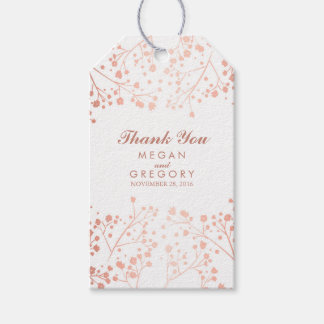 Baby's Breath Rose Gold and White Wedding Gift Tags