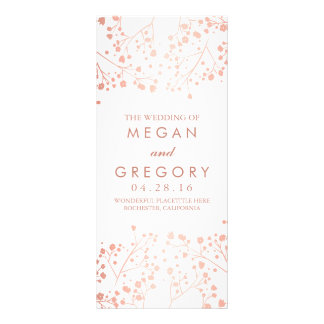 Baby's Breath Rose Gold and White Wedding Programs Rack Card