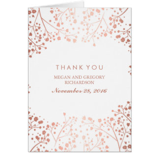 Baby's Breath Rose Gold Effect Wedding Thank You Card