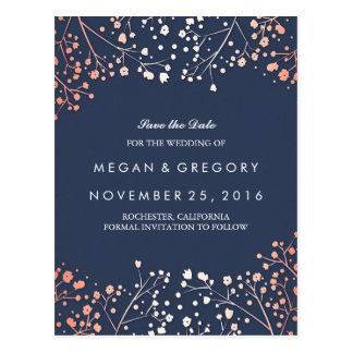 baby's breath rose gold floral navy save the date postcard