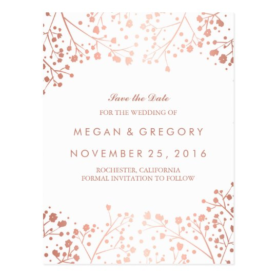 baby's breath rose gold floral save the date