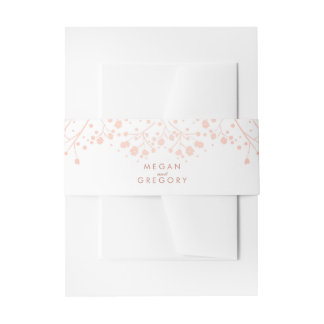 Baby's Breath Rose Gold Style Wedding Invitation Belly Band