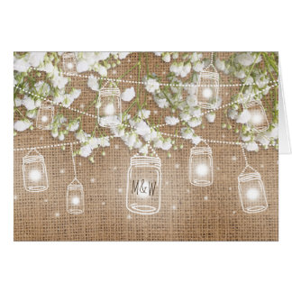 Baby's Breath Rustic Burlap Evening Reception Card