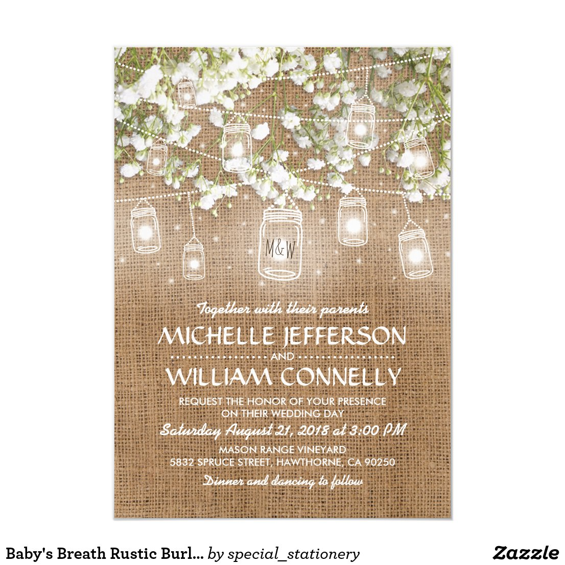 Baby's Breath Rustic Burlap Wedding Card