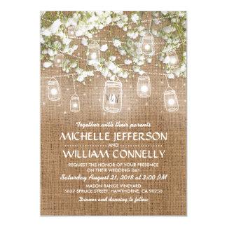 Captivating Babyu0026#39;s Breath Rustic Burlap Wedding Card