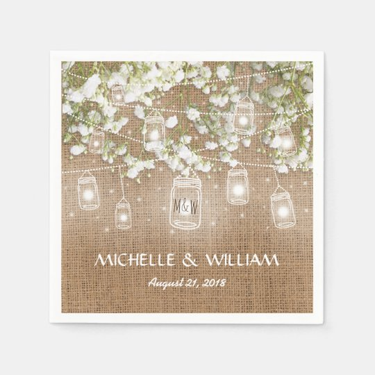 Baby's Breath Rustic Burlap Wedding Paper Napkins