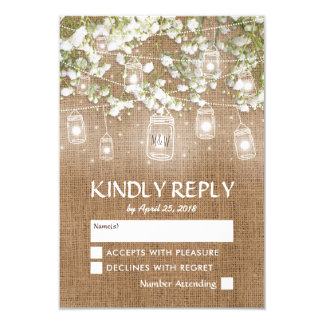 Baby's Breath Rustic Burlap Wedding RSVP Card