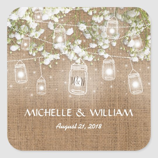 Baby's Breath Rustic Burlap Wedding Square Sticker