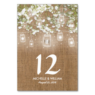 Baby's Breath Rustic Burlap Wedding Table Numbers
