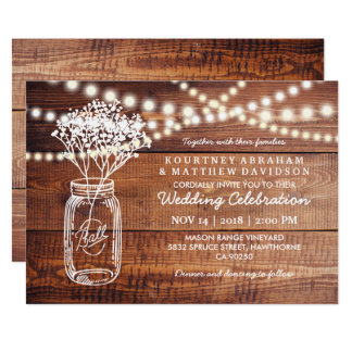 BABY'S BREATH RUSTIC COUNTRY | MASON JAR WEDDING CARD