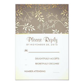 Baby's Breath Rustic Gold Foil Wedding RSVP Cards 9 Cm X 13 Cm Invitation Card