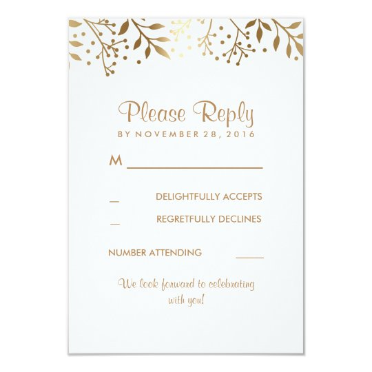 Baby's Breath Rustic Gold White Wedding RSVP Cards