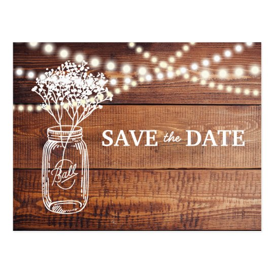 BABY'S BREATH RUSTIC MASON JAR SAVE THE DATE POSTCARD