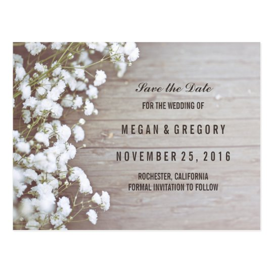 baby's breath rustic save the date postcard