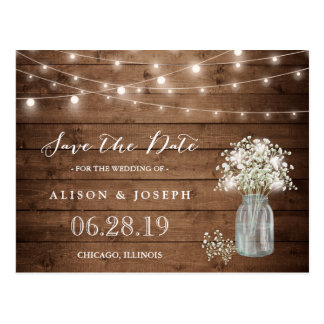 Baby's Breath Rustic String Lights Save the Date Postcard