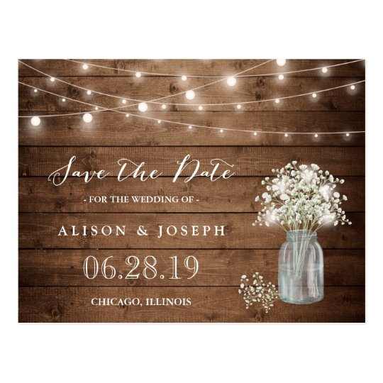 Baby's Breath Rustic String Lights Save the Date