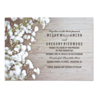 Baby's Breath Rustic Wedding 13 Cm X 18 Cm Invitation Card
