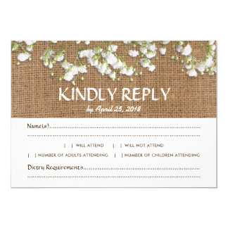 Baby's Breath Rustic Wedding RSVP Menu Choice Card