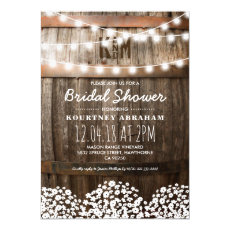 Babys Breath Rustic Wood Bridal Shower Card