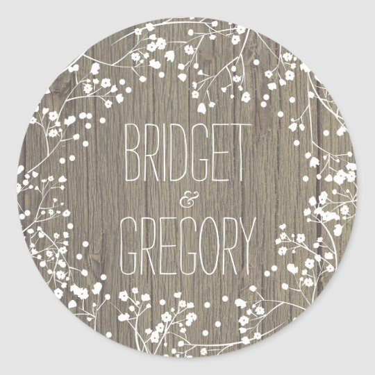Baby's Breath Rustic Wood Wedding Classic Round Sticker