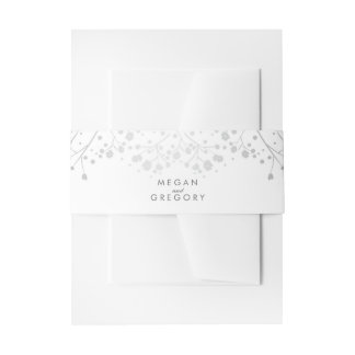 Baby's Breath Silver amd White Wedding Invitation Belly Band