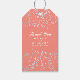 Baby's Breath Silver and Coral Foil Wedding Gift Tags