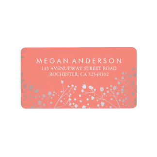 Baby's Breath Silver and Coral Wedding Address Label