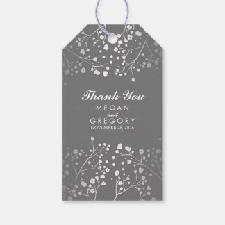 Baby's Breath Silver and Grey Wedding Gift Tags