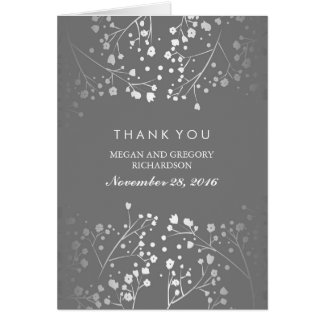 Baby's Breath Silver and Grey Wedding Thank You Card