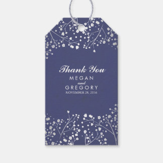 Baby's Breath Silver and Navy Wedding Gift Tags