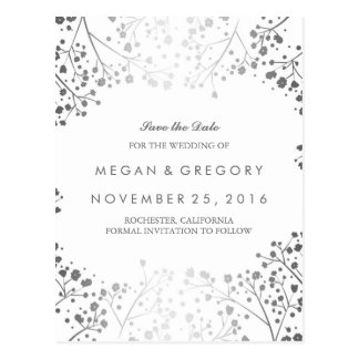 baby's breath silver and white save the date postcard