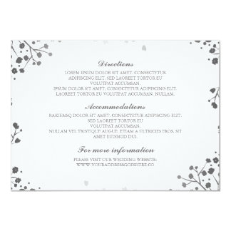 Baby's Breath Silver and White Wedding Details Card