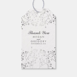 Baby's Breath Silver and White Wedding Gift Tags