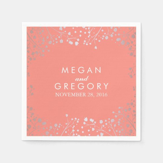Baby's Breath Silver Coral Wedding Paper Napkin