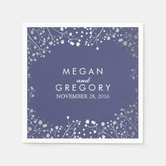Baby's Breath Silver Floral Navy Wedding Disposable Napkin
