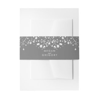 Baby's Breath Silver Grey Wedding Invitation Belly Band