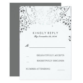 Baby's Breath Silver Wedding RSVP Cards