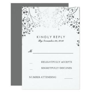 Baby's Breath Silver Wedding RSVP Cards 9 Cm X 13 Cm Invitation Card