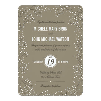 Baby's Breath Wedding Invite Round Corners