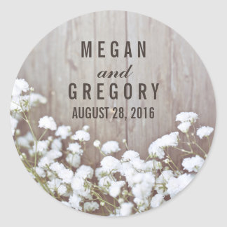Baby's Breath Wedding Round Sticker
