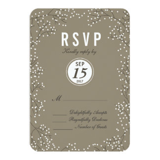 Baby's Breath Wedding RSVP Card Rounded